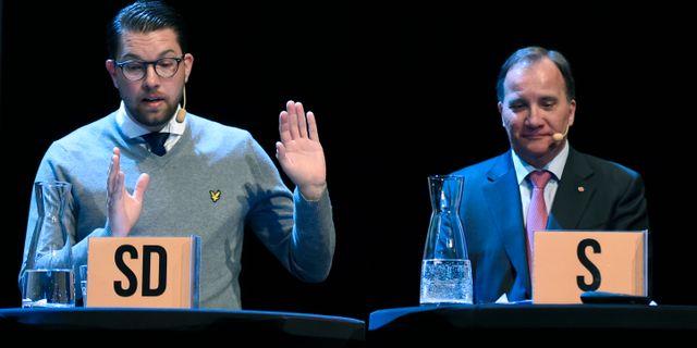 Jimmie Åkesson (SD) och Stefan Löfven (S). Erik Mårtensson/TT / TT NYHETSBYRÅN
