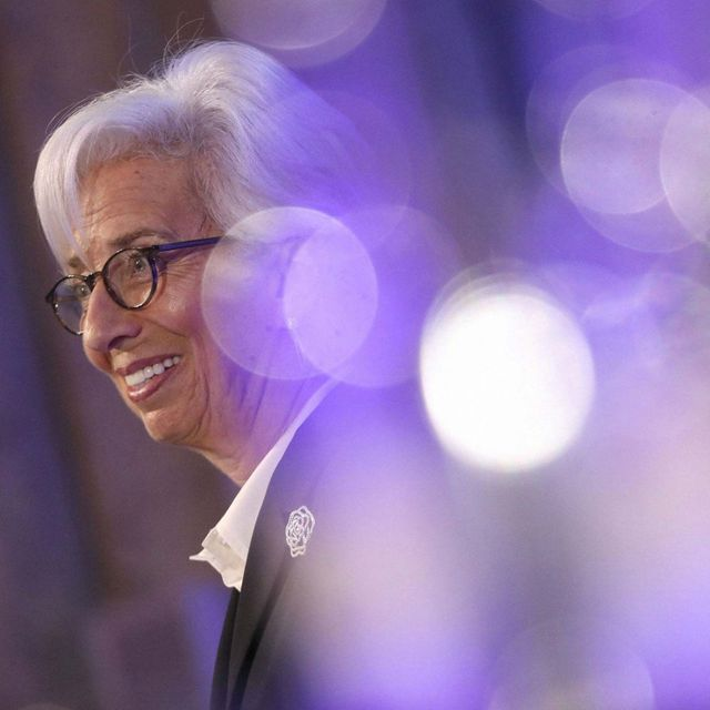 Christine Lagarde, president of the European Central Bank, speaks at the launch of the COP26 Private Finance Agenda in London on Feb. 27. Simon Dawson / Bloomberg