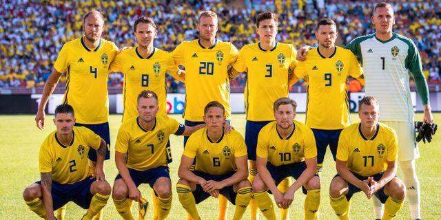 Den svenska startelvan mot Peru den 9 juni. Samma lag startar i VM-premiären mot Sydkorea, enligt medieuppgifter. JOEL MARKLUND / BILDBYR N
