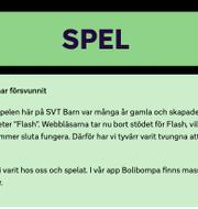 SVT informerar om varför flera spel plockats bort på sin sajt. SVT