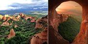 För 2 000 år sedan utvann romarna ton efter ton med guld i Las Médulas gruvor. Än i dag är det möjligt att utforska dem i de gyllenröda bergen i nordvästra Spanien. Wikicommons