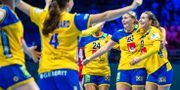 Sverige firar efter segern mot Polen.  LUDVIG THUNMAN / BILDBYR N