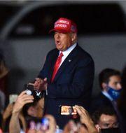 New York Times faktagranskning av Trumps tal i Janesville i oktober/Donald Trump på ett valmöte i Florida.  New York Times/TT