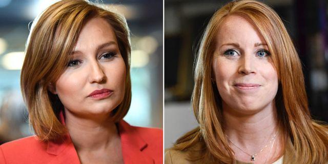 KD:s partiledare Ebba Busch Thor och Centerpartiets partiledare Annie Lööf.  TT