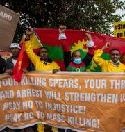 Protester mot striderna i Tigray. Themba Hadebe / TT NYHETSBYRÅN