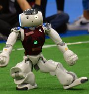 Robotfotbollsturnering i Rom i helgen. ANDREAS SOLARO / AFP