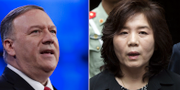 Mike Pompeo, USA:s utrikesminister samt Choe Son Hui, första vice utrikesminister i Nordkorea. TT