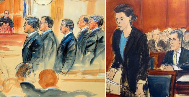 Illustrationer av Manafort och Cohen i rättssalar. TT