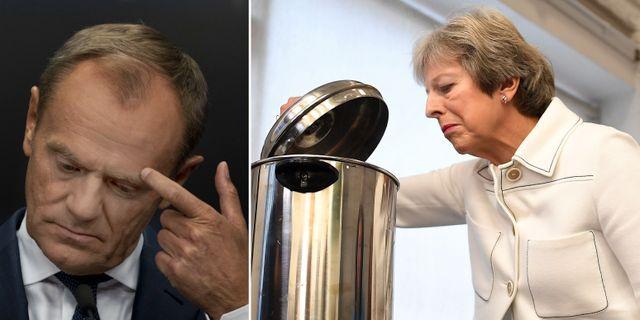 Donald Tusk/Theresa May. TT