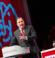 Stefan Löfven (S) höll tal under S-kongressen. Filip Erling/TT / TT NYHETSBYRÅN