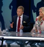 Camilla Kvartoft och Anders Holmberg under utfrågningen av MP-språkröret Isabella Lövin. SVT