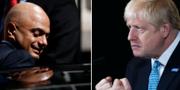 Finansminister Sajid Javid och premiärminister Boris Johnson. TT