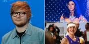 Ed Sheeran, Cardi B och Justin Bieber.  TT
