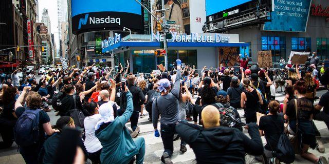 Protester i New York. Eduardo Munoz Alvarez / TT NYHETSBYRÅN