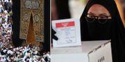 Mecca, Saudiarabien/muslimsk kvinna röstar i indonesiska valet.  TT