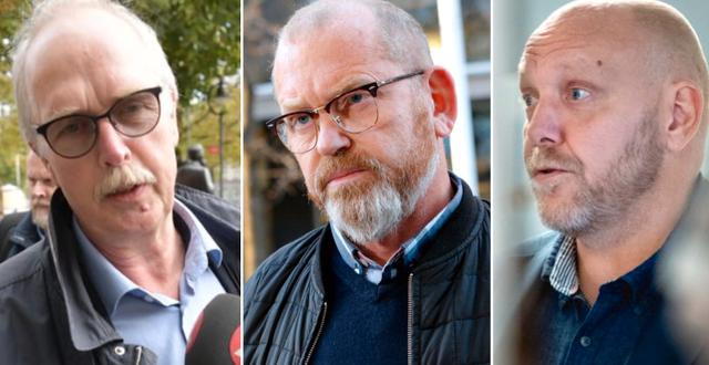 Valle Karlsson, förbundsordförande Seko, Johan Lindholm, förbundsordförande Byggnads och Pontus Georgsson, förbundsordförande Pappers. TT