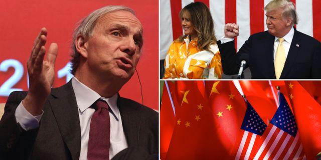 Arkivbilder: Dalio, paret Trump, USA:s och Kinas flaggor. TT