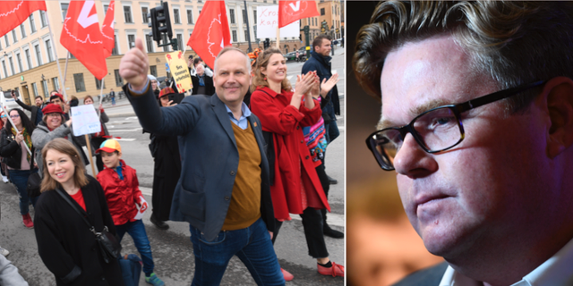 V-tåget ifjol med partiledare Jonas Sjöstedt i spetsen och Gunnar Strömmer. TT