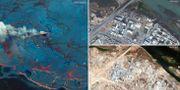 Vänster: Deepwater Horizon 2010, Höger: Mosul 2015 och 2017  Maxar Technologies/Handout via REUTERS