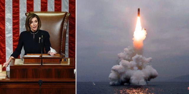 Nancy Pelosi var en av huvudpersonerna när Donald Trump ställdes inför riksrätt/nordkoreanskt vapentest. TT