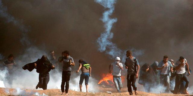 Protester vid gränsen mellan Gaza och Israel den 14 maj THOMAS COEX / AFP
