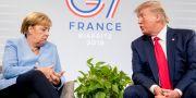 Tysklands förbundskansler Angela Merkel och USA:s president Donald Trump i Biarritz.  Andrew Harnik / TT NYHETSBYRÅN
