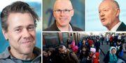 Esaiasson, Hinnfors, Lewin och flyktingar på väg genom Europa. TT/Göteborgs universitet