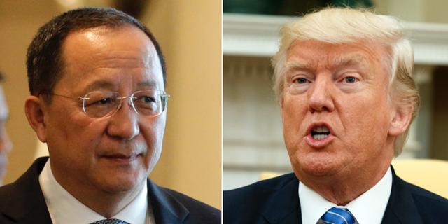 Nordkoreas utrikesminister Ri Yong-ho och USA:s president Donald Trump.