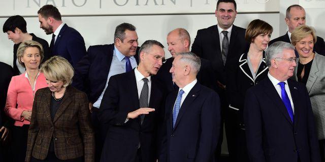USA:s försvarsminister James Mattis vid mötet med Natoländernas försvarsministrar igår. EMMANUEL DUNAND / AFP