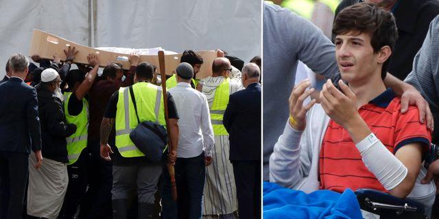 13-åriga Zaed Mustafa i rullstol när han pappa och bror begravdes på onsdagen.  TT