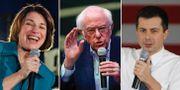 Amy Klobuchar, Bernie Sanders och Pete Buttigieg. TT