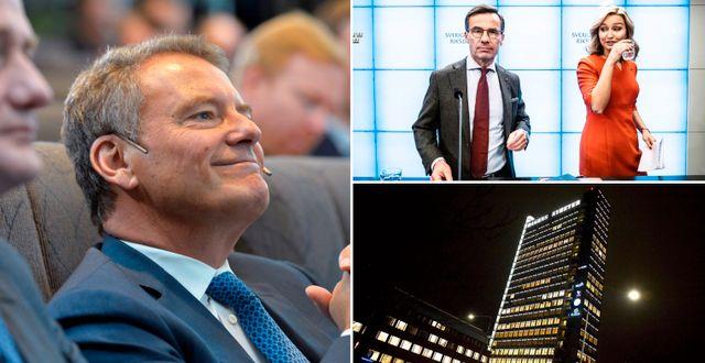 Volvos ordförande Carl-Henrik Svanberg, Kristersson och Busch, DN-skrapan. Arkivbilder. TT