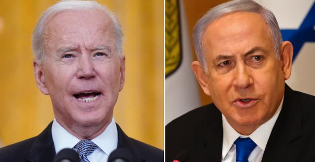 Joe Biden och Benjamin Netanyahu.  TT.
