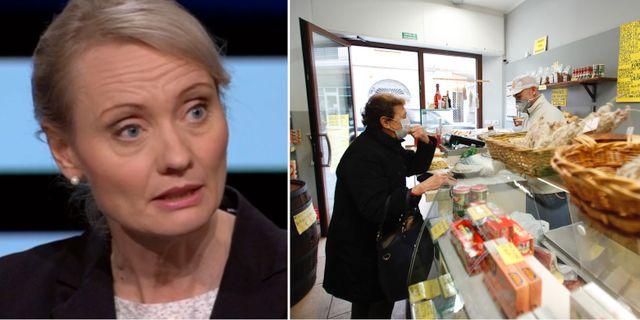 Karin Tegmark Wisell/butik i Lombardiet.  SVT/TT
