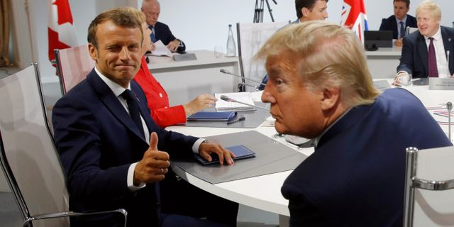 Macron och Trump idag. Philippe Wojazer / TT NYHETSBYRÅN