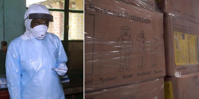 Sjukvårdsarbetare i Kongo-Kinshasa den 13 maj (t v), utrustning på väg till landet (t h) TT