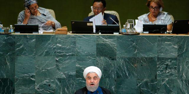 Rouhani i FN:s generalförsamling idag. EDUARDO MUNOZ / TT NYHETSBYRÅN