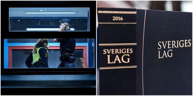 Polis vid brottsplatsen i Uddevalla/Sveriges lagbok. TT