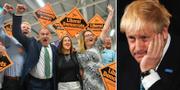Liberaldemokraternas Jane Dodds firar valframgången med supportrar/Storbritanniens nya premiärminister Boris Johnson. TT