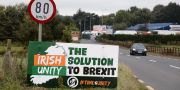 Antibrexit-skylt vid Newry, Nordirland.  PAUL FAITH / AFP