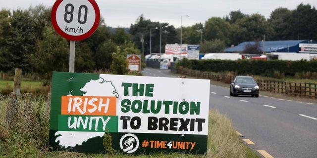 Antibrexit-skylt vid Newry, Nordirland.  PAUL FAITH / AFP