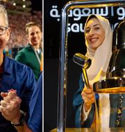 Applechefen Tim Cook. Saudi Aramco-medarbetaren Sukaynah Al Oqaili ringde i börsklockan i Riyad vid noteringen på Tadawul den 11 december förra året. TT
