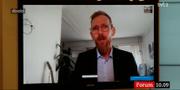 Forssmed höll sin pressträff via Skype. SVT