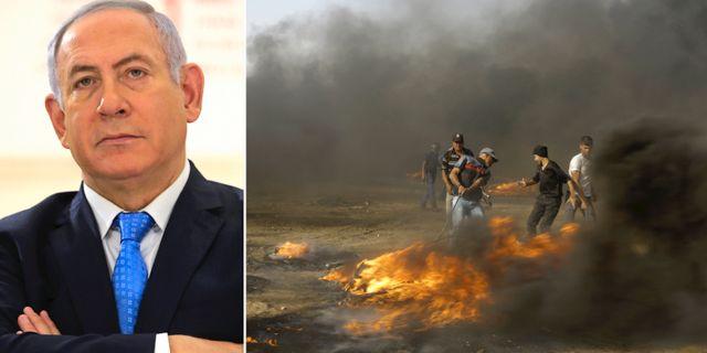 Benjamin Netanyahu/Protester i Gaza. TT