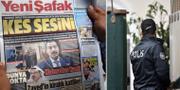 """""""Håll käften"""" står det på Yeni Safaks förstasida – en av agenterna uppges ha torterat Jamal Khashoggi.  TT"""