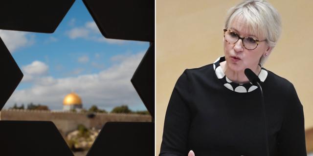 Jerusalems gamla stad och Margot Wallström.  TT