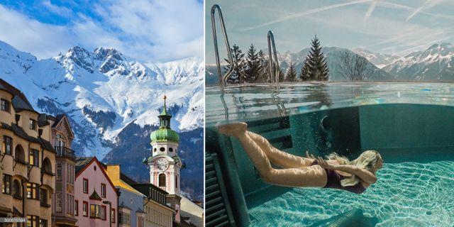 Gå på husjakt i gamla stan och bada varmt på spahotellet Nidum. I Innsbruck behöver du inte backarna. Getty/Nidum Hotel