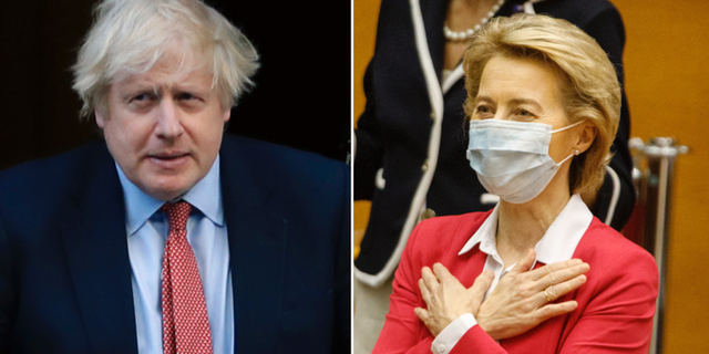 Storbritanniens premiärminister Boris Johnson/Ursula von der Leyen, EU-kommissionens ordförande. TT