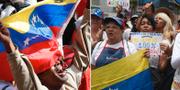 Anhängare till president Maduro respektive oppositionsledaren Guaidó.  TT