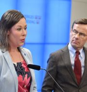 M:s migrationspolitiska talesperson Maria Malmer Stenergard och Ulf Kristersson. Arkivbild. Jessica Gow/TT / TT NYHETSBYRÅN